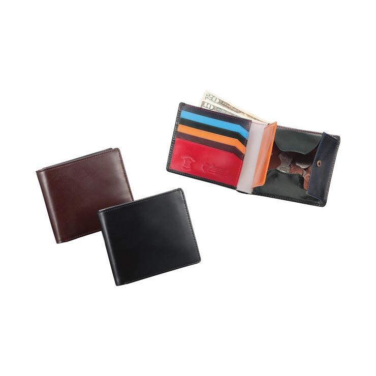 ブリティッシュグリーン ダブルブライドルレザー 二つ折り財布 マルチカラーブラック 10680001 の商品画像
